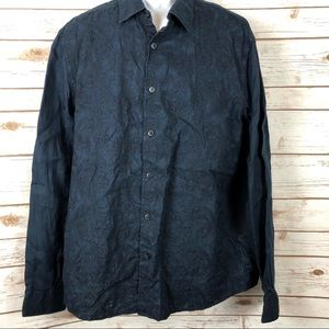 Michael Kors Embroidered Button Up Shirt Dark Navy